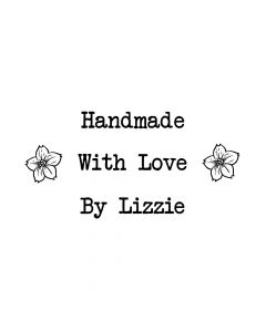 Personalised Handmade By Laser Rubber Mini Stamps - Flowers - Font 1